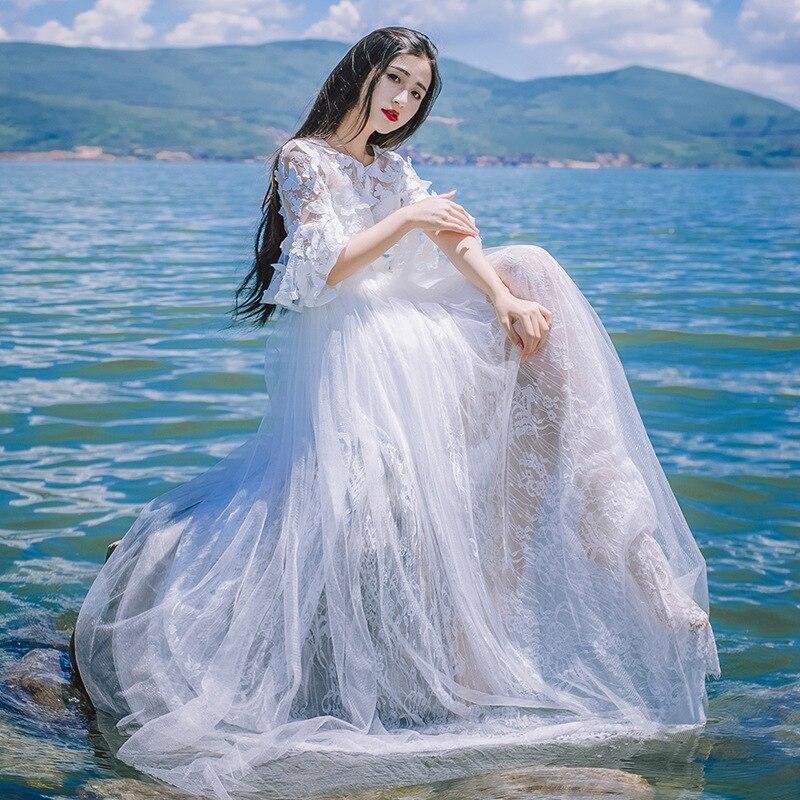 PRE-SALE Summer Butterfly Embroidered Bell Sleeve White Fairy Big Hemline Dress Light Formal Dress Trip Shoot Holiday Long Skirt