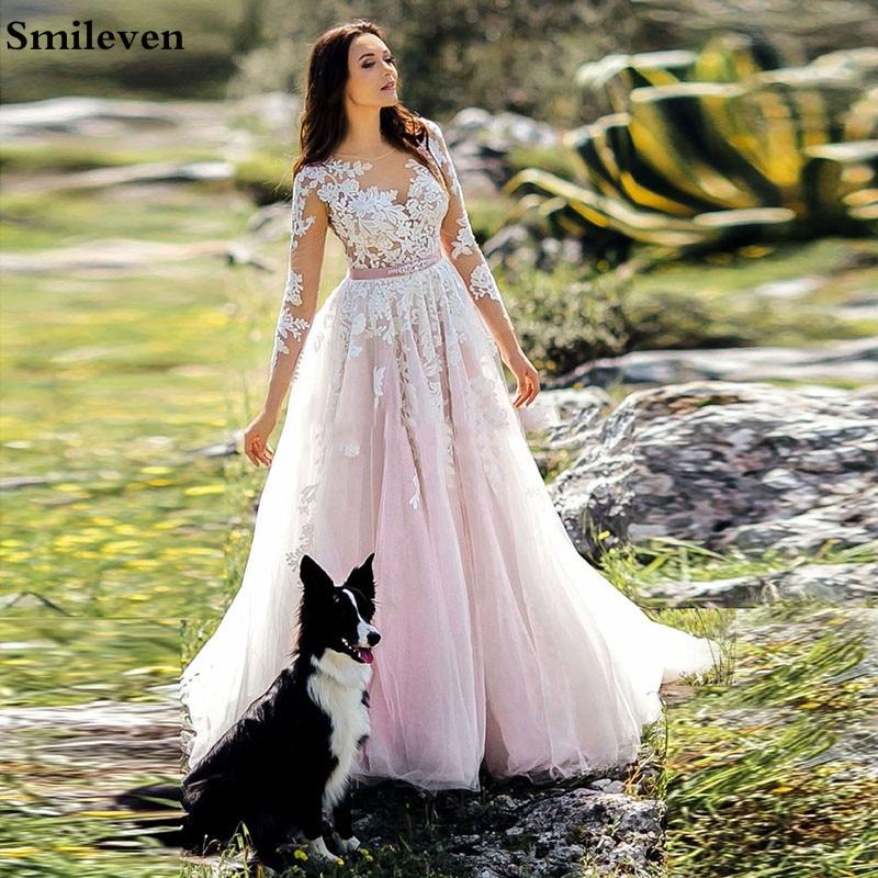 Smileven A Line Wedding Dress 3/4 Long Sleeve Boho Style Bride Dresses Appliqued Lace Wedding Gowns Robe De Mariee
