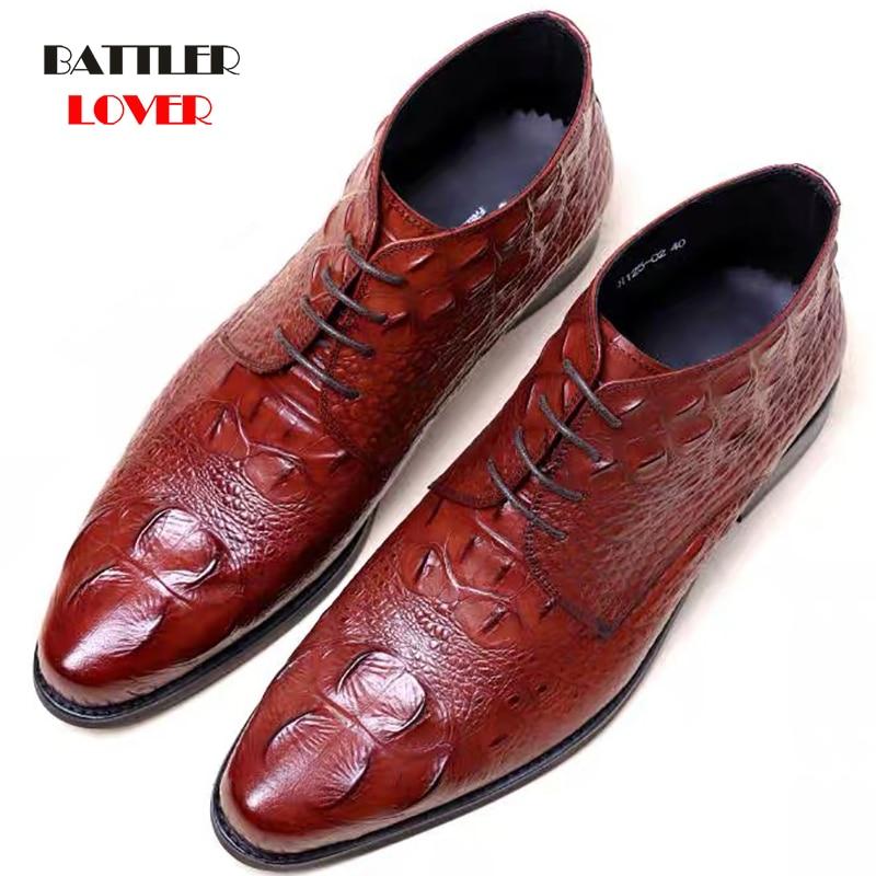 Plus Size 38-48 Crocodile Grain black/brown Formal Wedding Shoes Mens Ankle Boots Genuine Leather Men