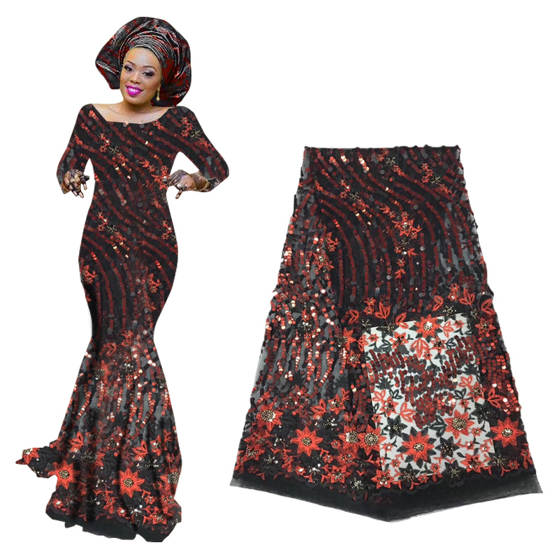 High Quality Nigerian Sequin Lace Fabrics 2019 French Tulle Lace Fabric African Lace Fabric For Wedding Party Dresses