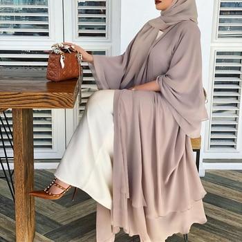 Solid Open Abaya Kimono Dubai Turkey Kaftan Muslim Cardigan Abayas Dresses For Women Casual Robe
