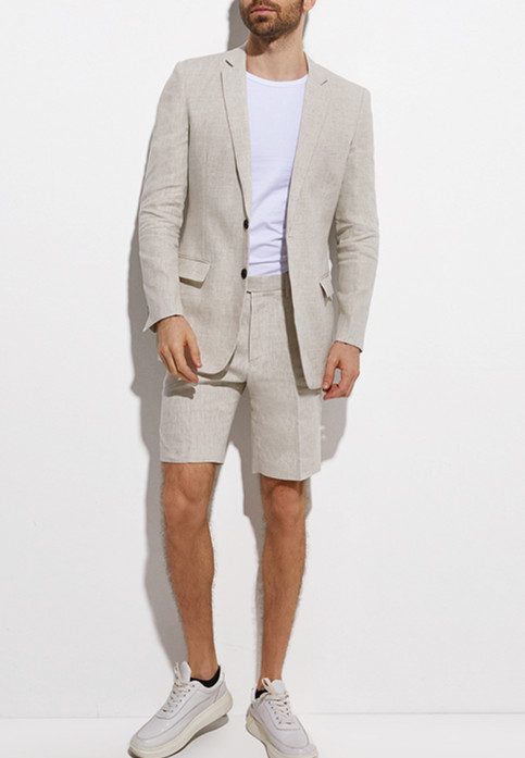 <font><b>Mens</b></font> 2020 Fashion Summer New Linen Jacket <font><b>Shorts</b></font> Beach Wedding Groom Slim Fit Dress 2 Piece Breathable Lightweight image