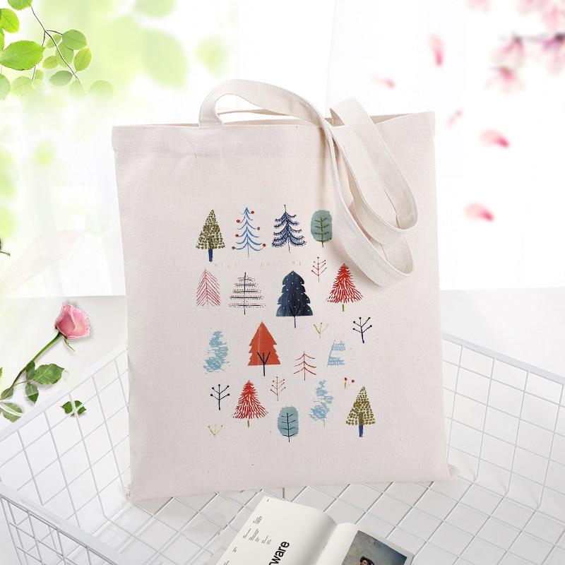 Canvas Handbag Shopping Bag Christmas Tote Bag Text DIY Daily Use Custom Print Logo Eco Reusable Recycle