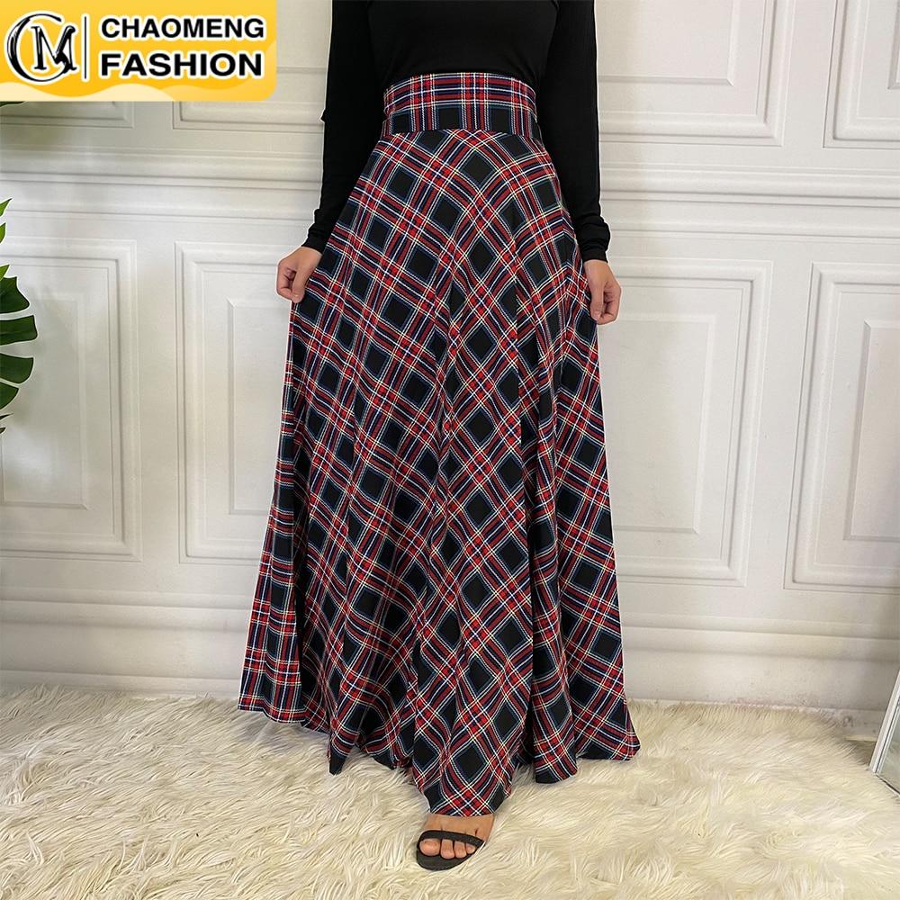 Abaya Dubai Plaid High Waist Ankle Muslim Fashion Long Skirt Jupe Femme Elegant Turkey Maxi Islam Clothing De Mode Casual Dress