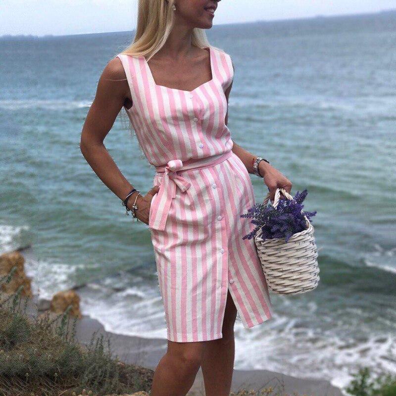 Women Summer Dresses Square Collar Sleeveless Slim Dress Casual Pockets Mini Pencil Dress Vestidos Print Women Striped Piece L2