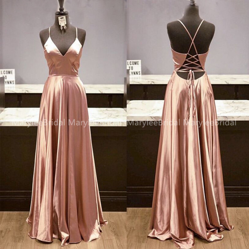 Full Length A-line Spaghetti Strap Evening Dress Crisscross Back Shiny Spandex Satin Formal Prom Party Gown Cheap Robe De Soiree