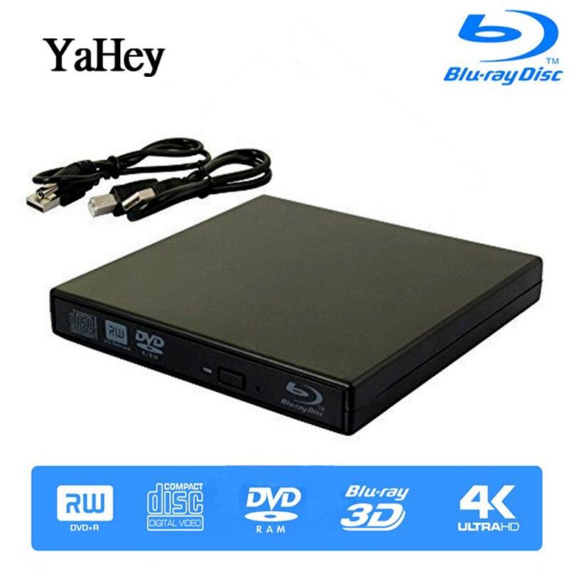 YAHEY Blu Ray Player Stick USB 2.0 Externe Optische Laufwerke DVD Brenner BD-ROM Tragbare CD-RW Schriftsteller Recorder Für Laptop Computer