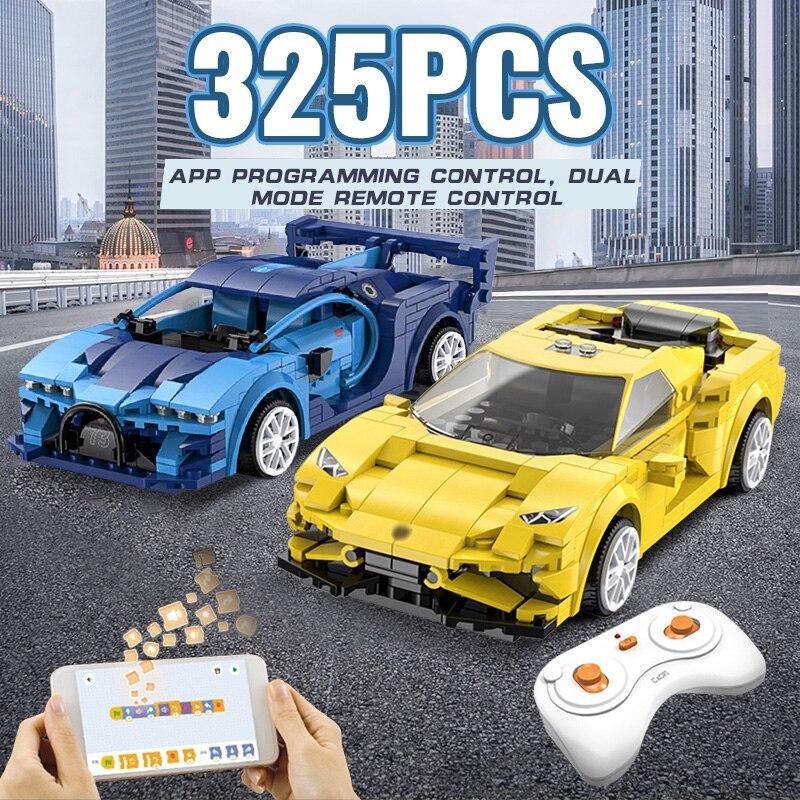 Модель гоночного автомобиля на радиоуправлении, строительные блоки, приложение для программирования, дистанционное управление, спортивны...
