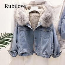Rubilove velvet thick denim jacket female winter big fur collar Korean locomotive lamb coat student short