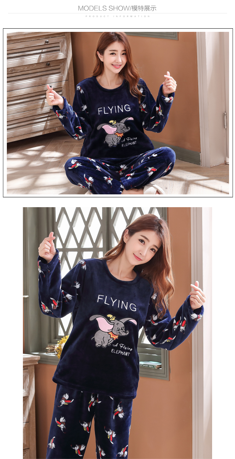 Long Sleeve Warm Flannel Pajamas Winter Women Pajama Sets Print Thicken Sleepwear Pyjamas Plus Size 3XL 4XL 5XL 85kg Nightwear 371