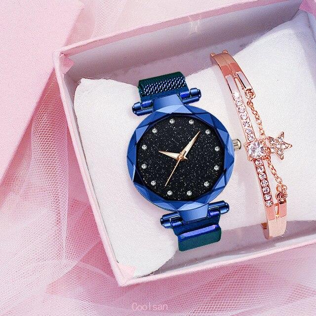 Femmes de luxe montre mode élégant aimant boucle Vibrato violet dames montre-bracelet ciel étoilé romain diamant montre à Quartz cadeau 5