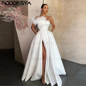 2021 White Satin Evening Dress Long Red Black Prom Gowns Pockets Feather Side Slit Formal Party Dress reception dress for bride