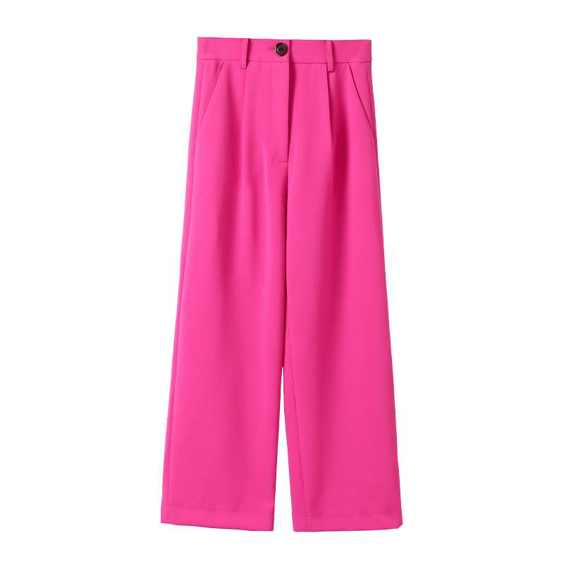 Women High Waist Wide Leg   Pants   2019 Fashion Rose Pink   Pants     Capris   Office Lady Autumn Ladies Loose Palazzo Trousers