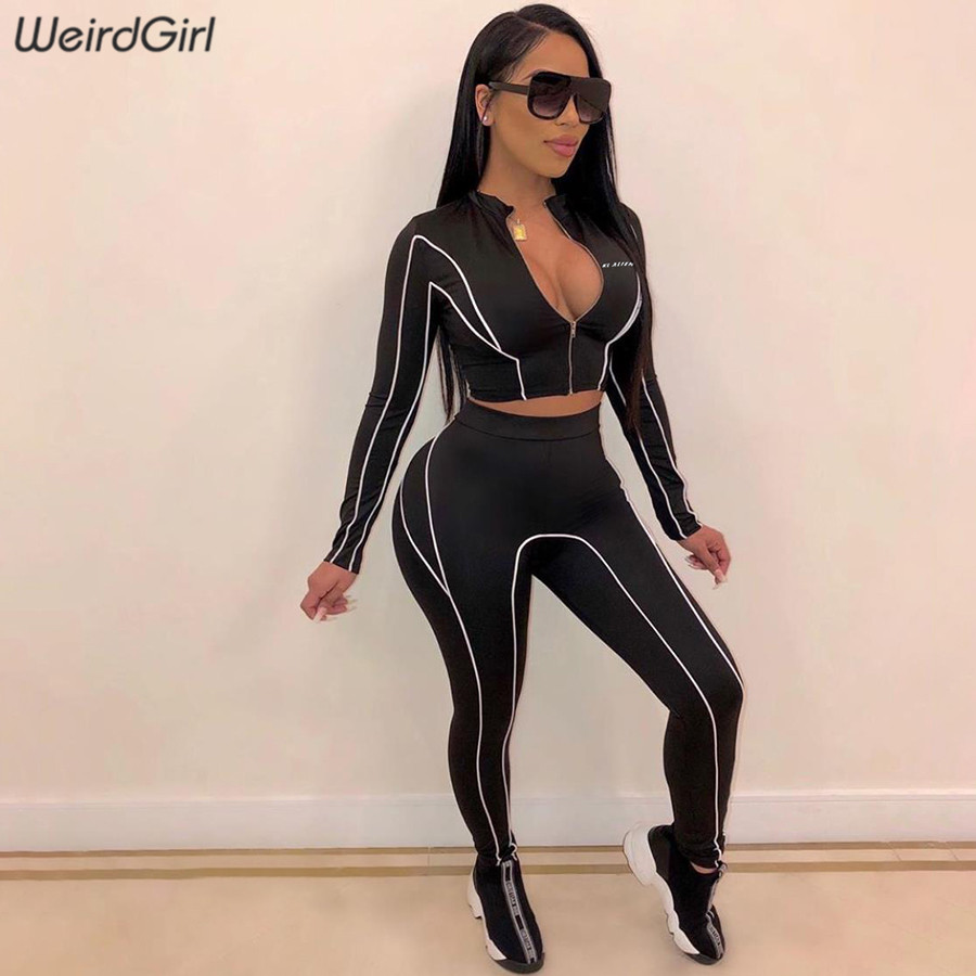 Weirdgirl Women Sets 2 Pieces Reflective Print Tracksuit Full Sleeve Tshirts Long High Waist Skinny Leggings Casual Sportwear