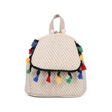 6PCS / LOT Straw Knitting Backpack Mini Bag Summer Fashion Woven Shoulder Tassel Women Girls Mochilas