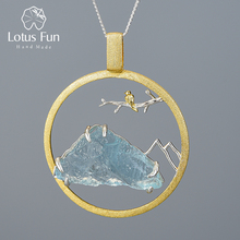 Lótus diversão natural pedra crua pássaro sussurrar pingente sem colar real 925 prata esterlina criativo design artesanal jóias finas