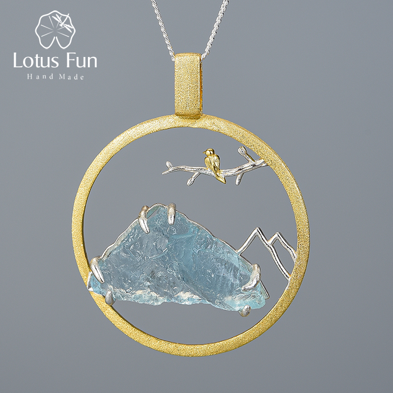 Lotus Fun Natural Raw Stone Bird Whisper Pendant Without Necklace Real 925 Sterling Silver Creative Handmade Design Fine Jewelry