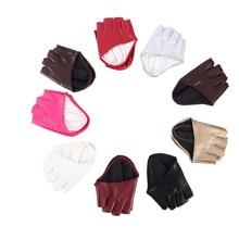 Модный половину пальца PU кожаный перчатки дам без пальцев вождения показать танца