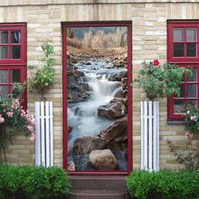 AsyPets 3D Rock Beach Rivulet naklejka na drzwi dekoracja wnętrz ozdoba wnętrz tanie tanio Duszpasterska Krajobraz