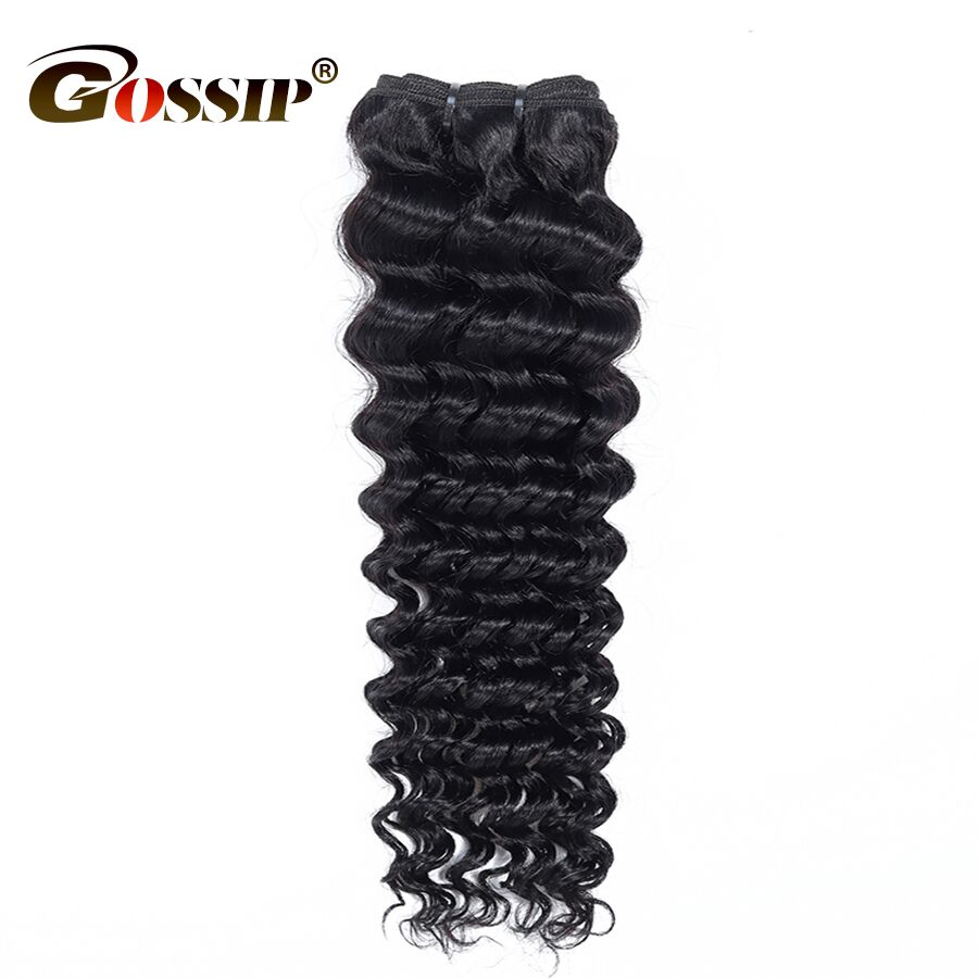 8 To 30 Inches Brazilian Deep Wave Bundles Deal 100% Human Hair Extensions Gossip Remy Hair Bundles 1 Piece Hair Only #1B Color