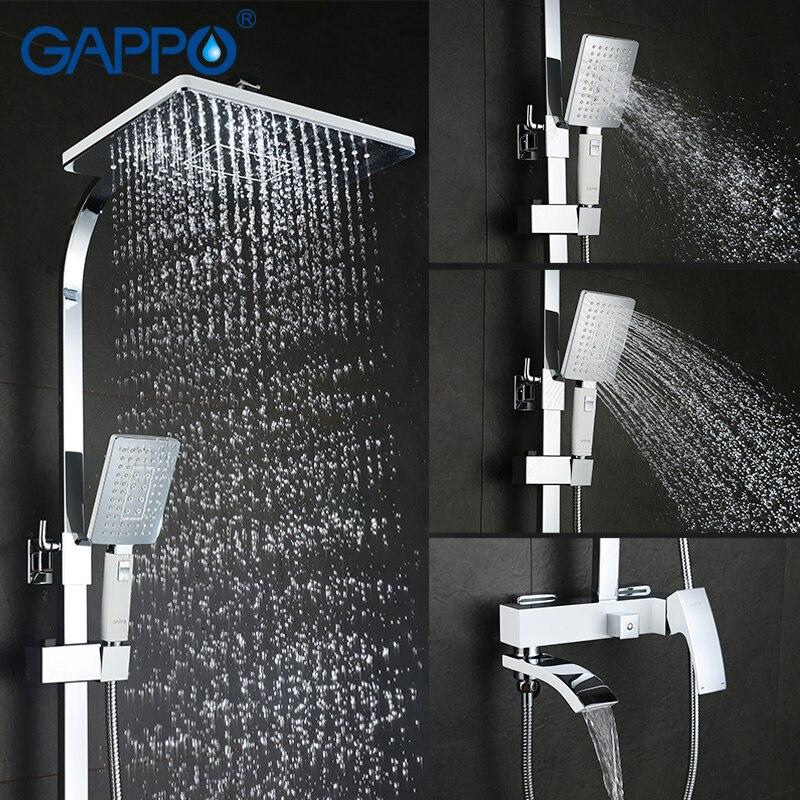 Image 2 - GAPPO Shower System brass shower faucet mixer bathroom shower set waterfall massage wall mounted bathroom mixer showerShower System   -