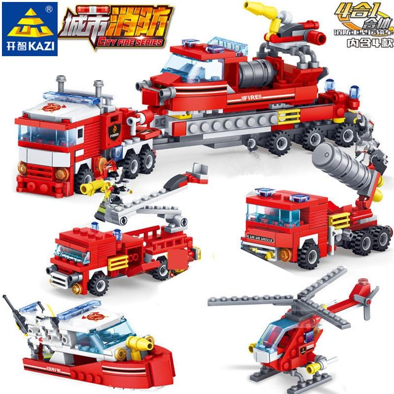 348Pcs City Fire Fighting Trucks Car Helicopter Boat Building Blocks Firefighter LegoINGLs Juguetes Bricks Playmobil Kids Toys