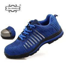 New exhibition Summer fish mesh surface breathable Work Safety Shoes Mens steel toe cap anti-smashing protective Boots Sneakers
