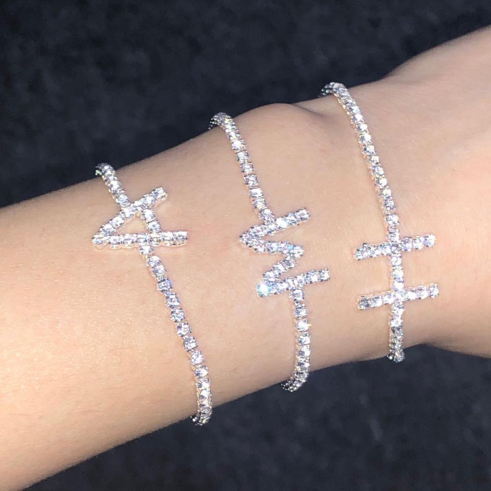 Crystal Zircon Initial Letter Bracelets For Women Alphabet Charm Bracelets and Bangles Friendship Bracelet Female Jewelry Gift
