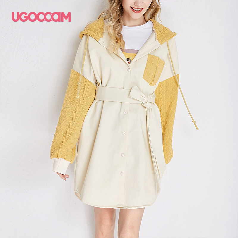 UGOCCAM Hooded Coat Yellow Women Coat Trench Oversize Splice Knitted Winter Windproof With Waistband Fashion Outwear Outdoor