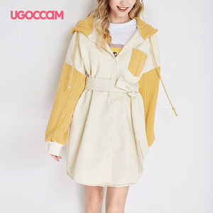 UGOCCAM Hooded Coat Yellow Wom