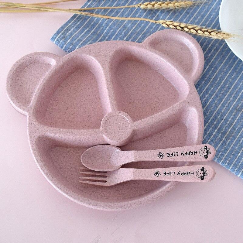3 шт./компл. Детские чаша+ ложка+ Вилка питания Еда посуда Носки с рисунком медведя из мультика детская посуда, столовая посуда с защитой от перегрева тренировок с суповую тарелку, производство Китай - Цвет: Pink Set