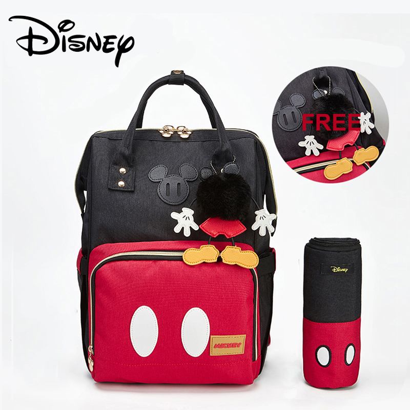 Disney Nappy Bags Mommy Pregnant Women Backpack Baby Stroller Bag Mickey Mouse Mummy Backpack Large Capacity To Send Hook