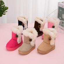 Теплые детские зимние ботинки для детей, новая зимняя детская обувь принцессы для малышей милые Нескользящие ботинки на плоской подошве с круглым носком для маленьких девочек