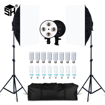 Photo Studio 8 LED 20W Softbox Kit Photographic Lighting Camera & Accessories 2 Light Stand for
