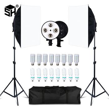 Photo Studio 8 LED 20W zestaw Softbox oświetlenie fotograficzne zestaw aparat i akcesoria fotograficzne 2 lekki statyw 2 Softbox na zdjęcie z kamery tanie i dobre opinie CN (pochodzenie) Polyethylene high reflector particle 50x70CM Four-lamp Softbox 70-200CM Height Max 2KG E27 base Use for Photo studio Video Light