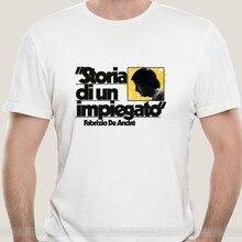 T-shirt moda uomo T-Shirt in cotone Di marca t-shirt Storia Di Un dipendente giazio De Andr & egrave Maglietta Grigia Con Disegno