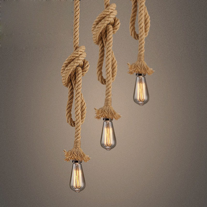 Russia Rope Pendant Light Loft Creative Personality 100% Hemp Rope Lamp Industrial Retro Lamp Edison Bulb 1M 1.5M 2M AC85-265V