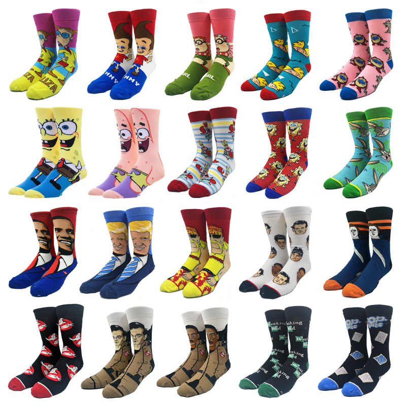 Creative Men's Socks Harajuku Cartoon Anime Funny Socks Hip Hop Super Hero Fashion Novelty Men and Women Breathable Cotton Socks