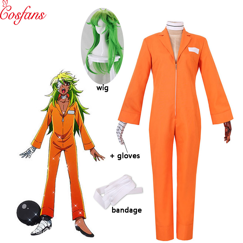 New Detentionhouse Nanbaka Niko No.25 Prison Clothes Women Men Cosplay Costume Halloween Cosplay Costume Wig And Gloves Bandage