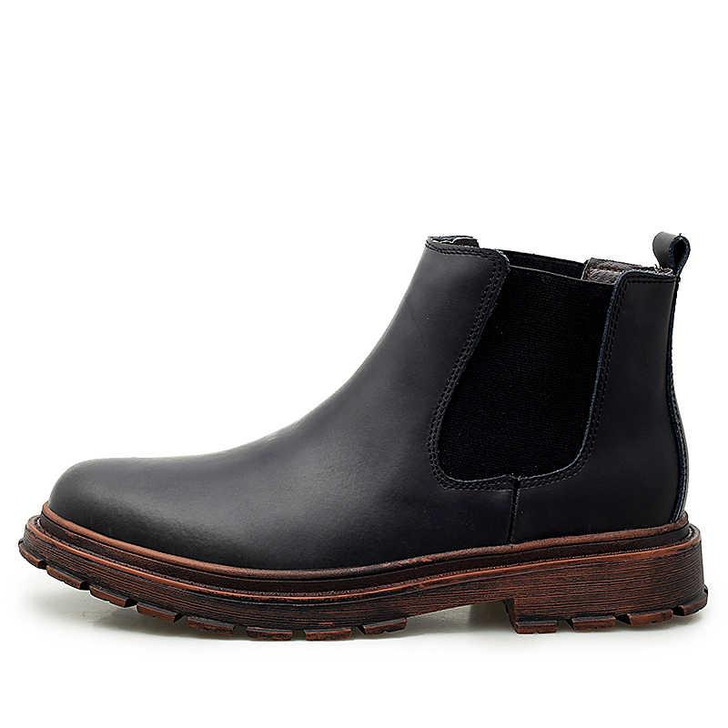 Hoge Kwaliteit Winter Laarzen Mannen Koe Suede Enkellaarsjes Handgemaakte Outdoor Werkende Laarzen Vintage Stijl Warm Chelsea Laarzen voor Mannen