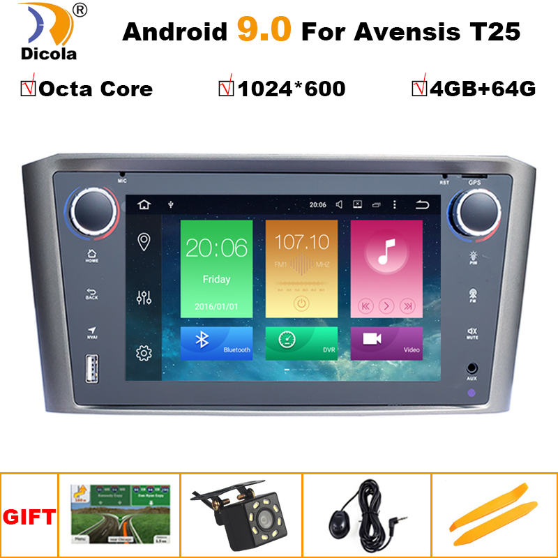 4G+64G <font><b>Android</b></font> 9 Car Radio GPS Multimedia Stereo DVD Player For <font><b>Toyota</b></font> Avensis <font><b>T25</b></font> 2003-2008 Auto Audio WIFI Video Navigation image