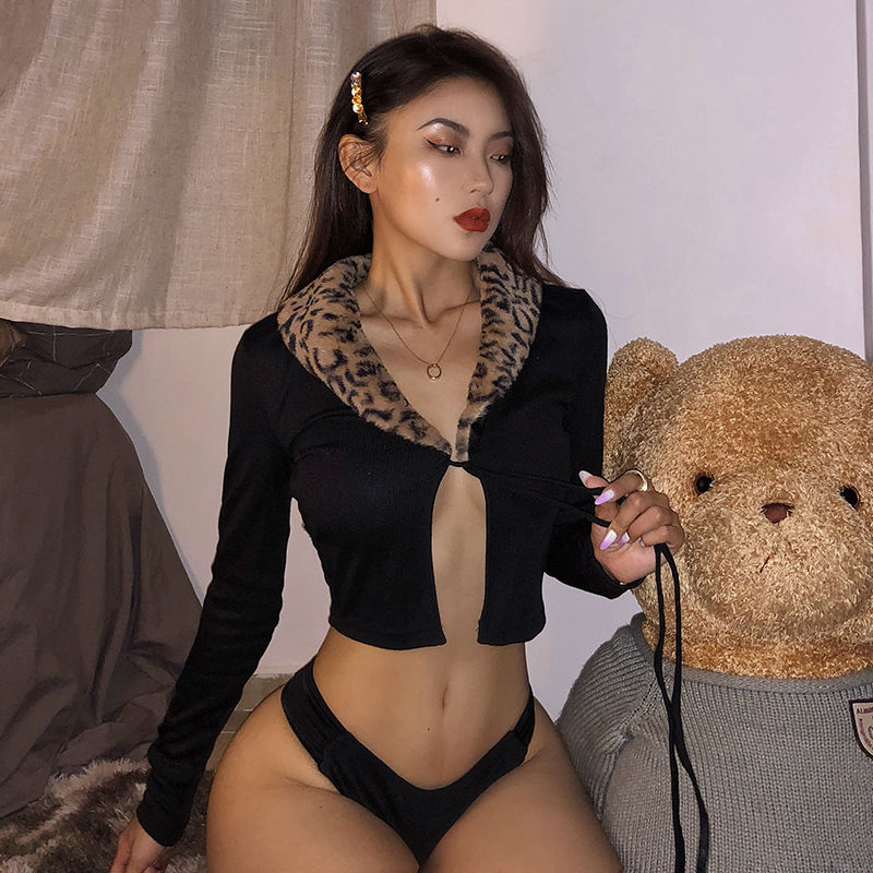 SEASONS Cardigan Knitted Ribbed Leopard Fur Collar Women Crop Top Bandage Sexy Long Sleeve T Shirt Streetwear ASTS80280