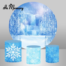 InMemory Frozen Round Backdrop Winter Snow Photography Banner Girls Birthday Party Circle Backgrounds For Photo Studio Custom