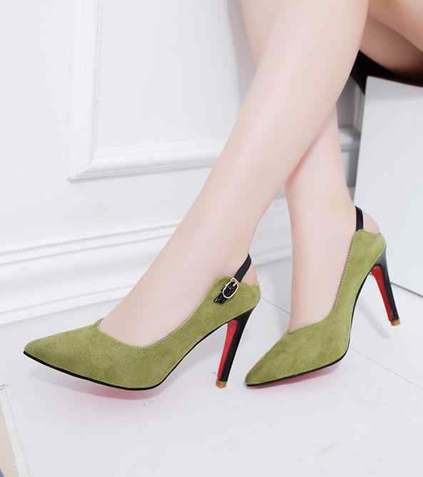 2018 חדש גבוהה עקבים נשי טמפרמנט בסדר עם דק ירוק רדוד עקבים גבוהים אבזם סקסי אופנה נעליים