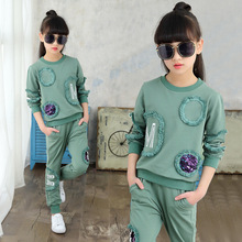 Children Clothing New Spring Teen Girls Clothes Set Sequin Long Sleeve Tops+Pants 2 PCS Kids Tracksuit Girls Sports Suits 4-13 Y boys girls sports clothing set school uniform kids children running tracking jogging suits comfortable 2 pcs jacket pants a33