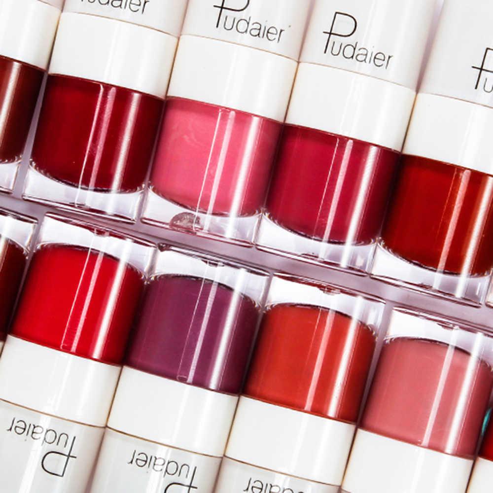 Pudaier 16 צבעים קוריאני שפתיים גוון עמיד למים סקסי מט גלוס לאורך זמן נוזלי מט שפתון Rouge Levre מחצלת TSLM2