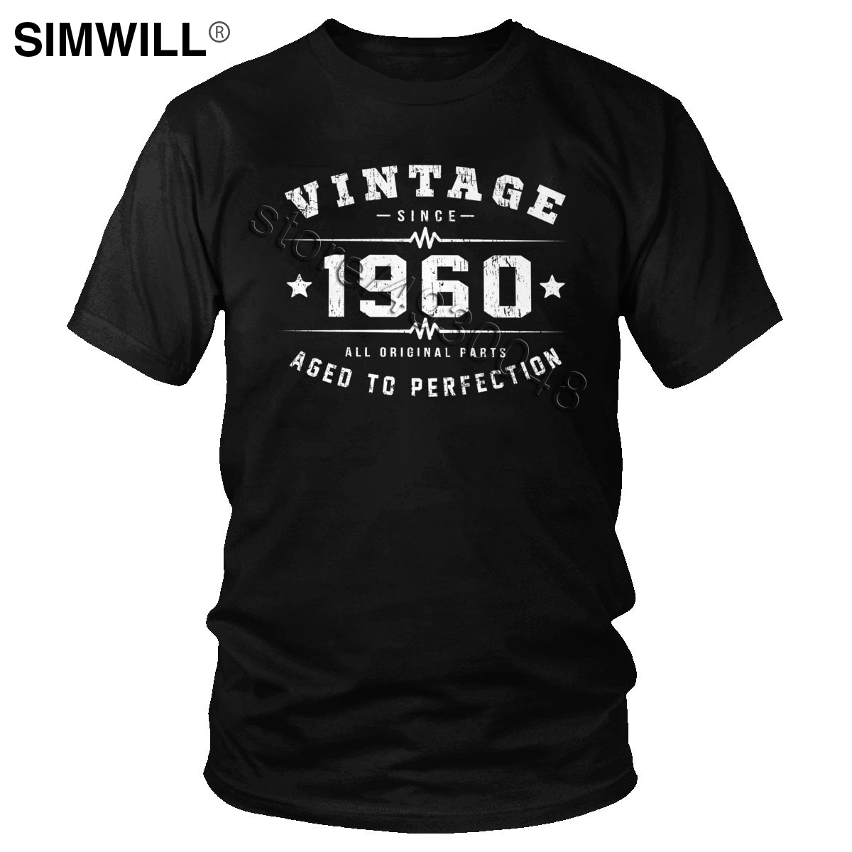 Vintage 1960 T Shirt Men Cotton 60 Years Old Tshirt Aged To Perfection 60th Birthday Tee Short Sleeves Round Neck T-Shirt Gift