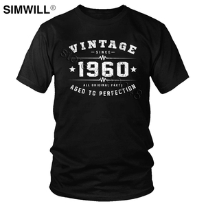 Vintage 1960 T Shirt Men Cotton 60 Years Old Tshirt Aged To Perfection 60th Birthday Tee Short Sleeves Round Neck T-Shirt Gift(China)