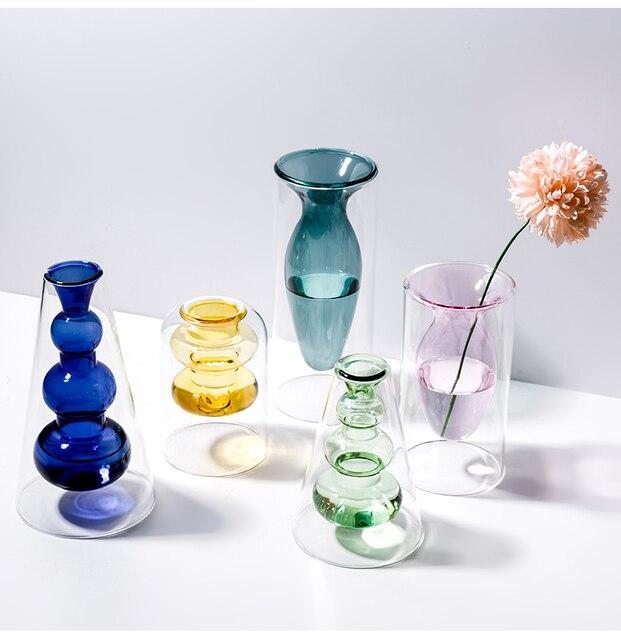 Home decoration accessories Nordic style Colourful Glass Transparent Vase Flower Arrangement Hydroponic Aquaculture Bottle Table 3