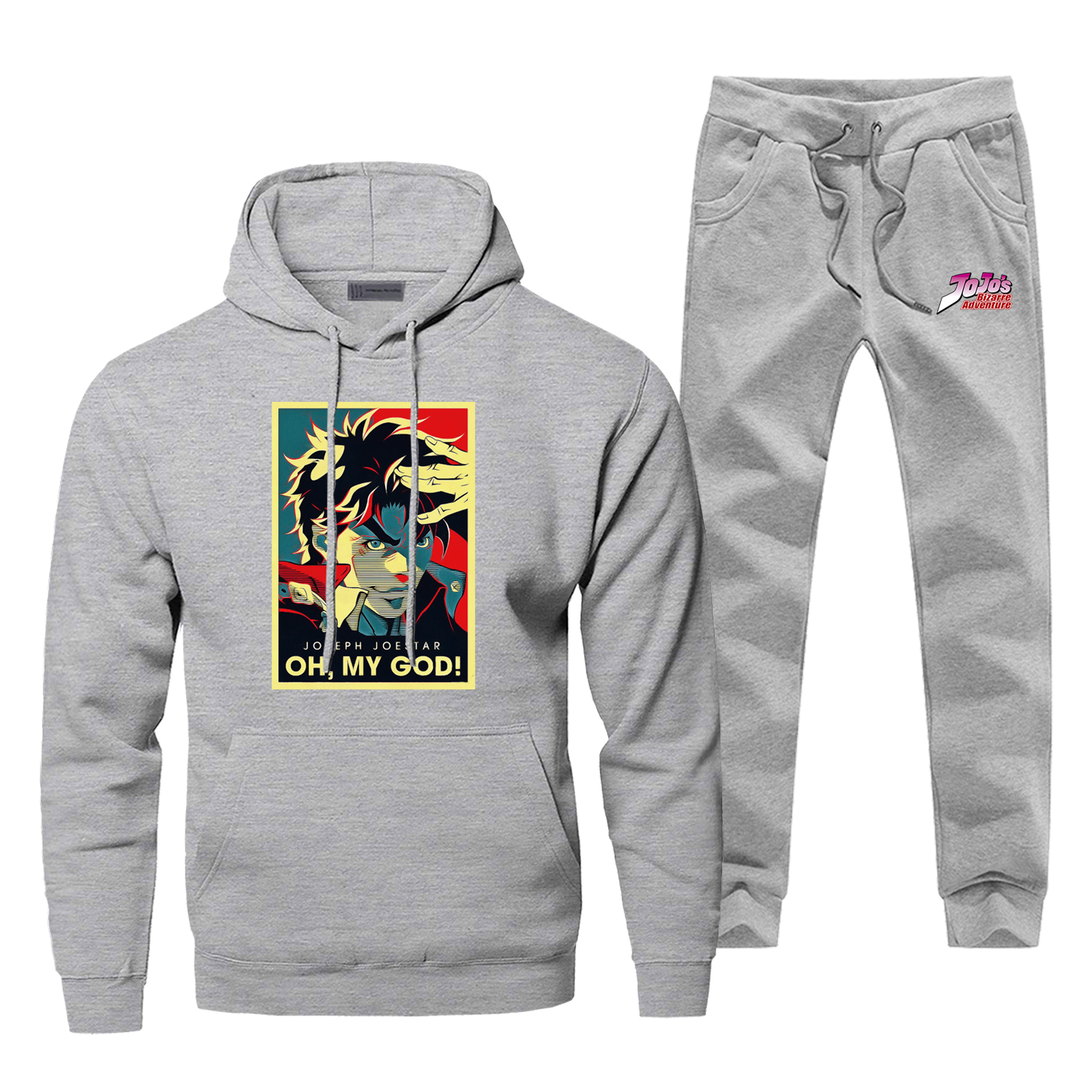 Jojo's Bizarre Adventure Print Men's Sets Oh My God Joseph Joestar Stand Power Hoodies Set Japan Anime Harajuku Pants Sweatshirt